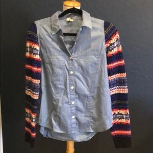 Free People Denim Knit Long sleeve shirt XS